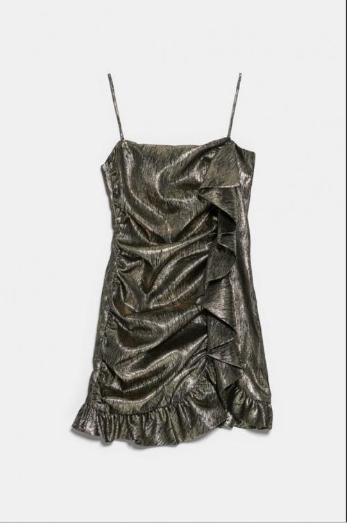 Zara - Robe métallisée à volants