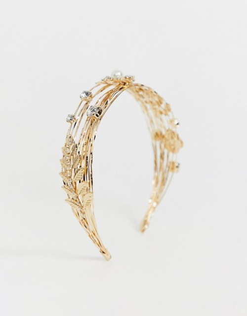 ASOS DESIGN - Bandeau style couronne avec perles et strass et ornement feuille - Doré