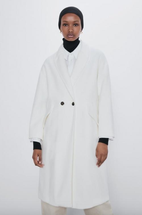 Zara - Manteau oversize blanc