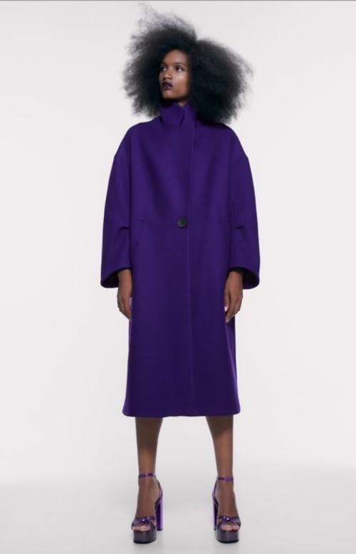 Zara - Manteau oversize violet