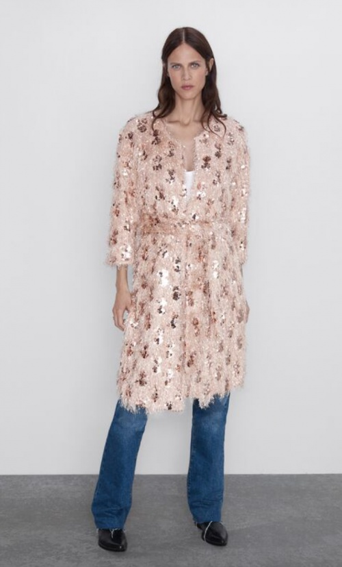 Zara - Manteau fantaisie à paillettes