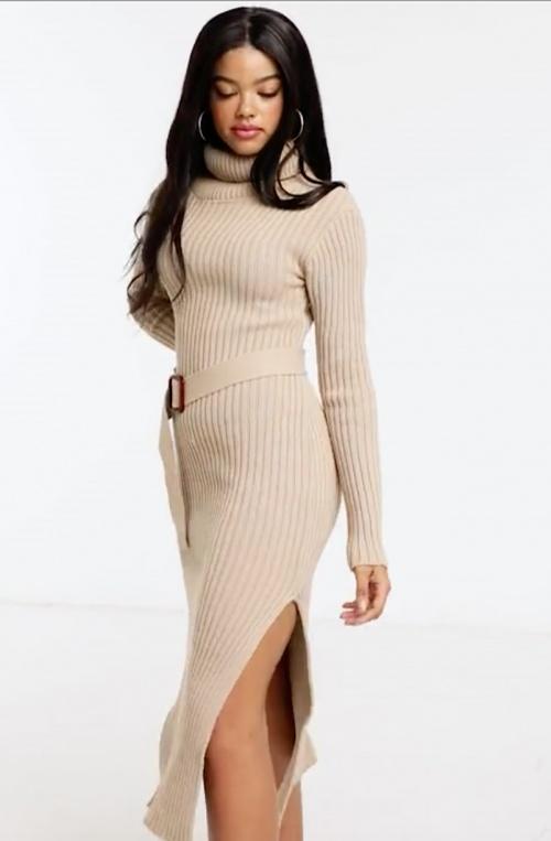In The Style - Robe mi-longue en maille