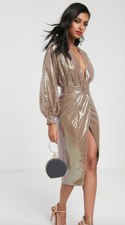 Asos Design - Robe mi-longue avec sequins