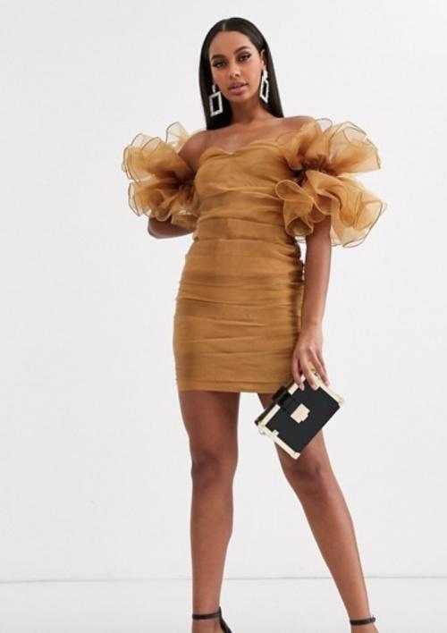 Club L London - Robe bardot courte froncée