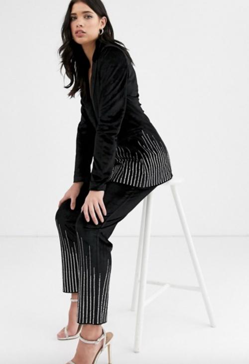 Fashion Union - Veste de tailleur en velours