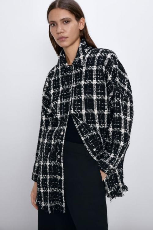 Zara - Veste en tweed à carreaux