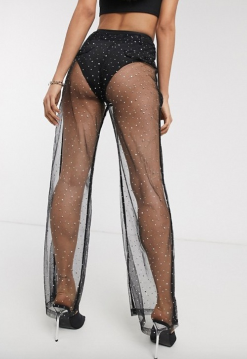 Public Desire - Pantalon transparent à strass