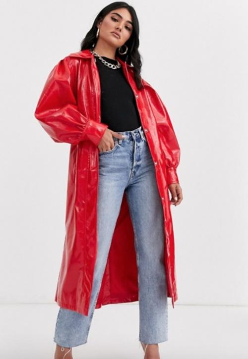 Asos Design - Trench vinyle rouge