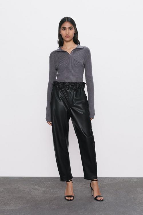 Zara - Pantalon en simili cuir