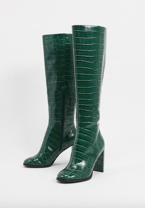 Asos Design - Bottes hauteur genou croco
