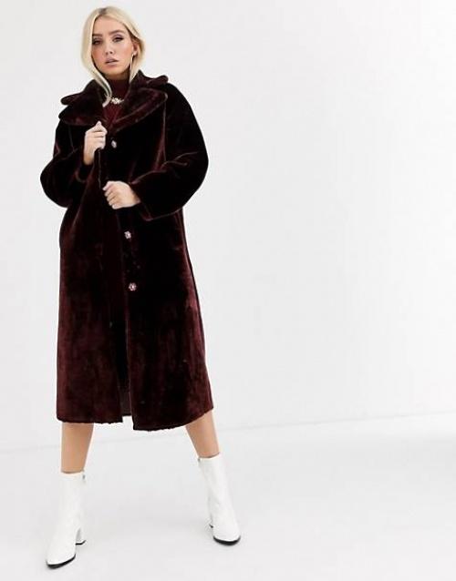 ASOS DESIGN -  Manteau en fausse fourrure