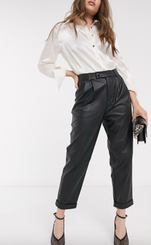 Stradivarius - Pantalon ample en simili cuir