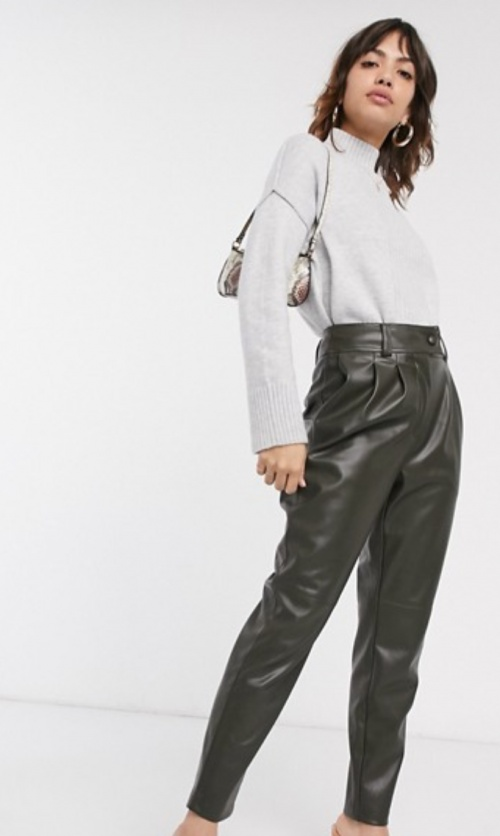 Warehouse - Pantalon simili cuir kaki