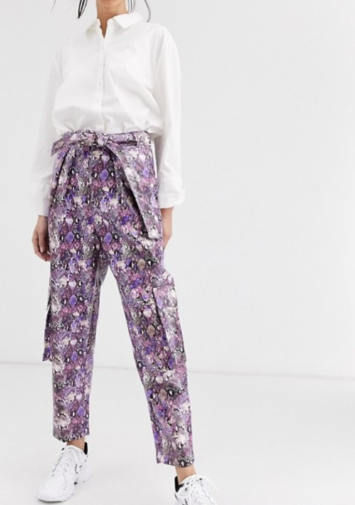Asos Design - Pantalon simili cuir imprimé serpent
