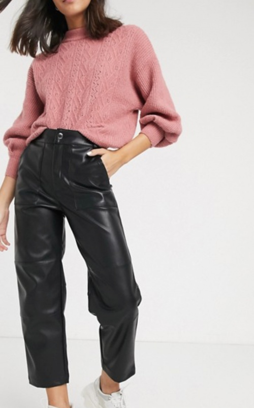 Monki - Pantalon carotte simili cuir