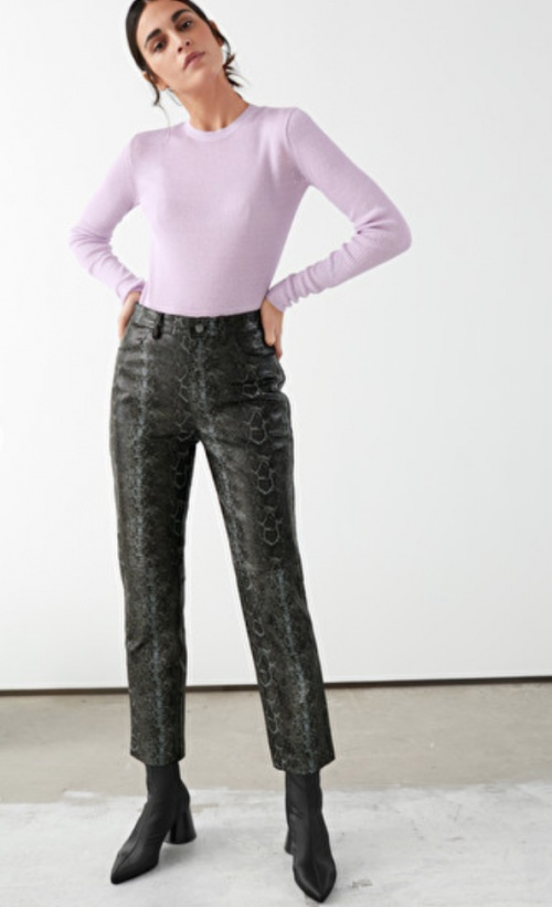 &Other Stories - Pantalon simili cuir imprimé serpent