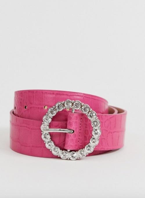 Asos Design - Ceinture rose croco