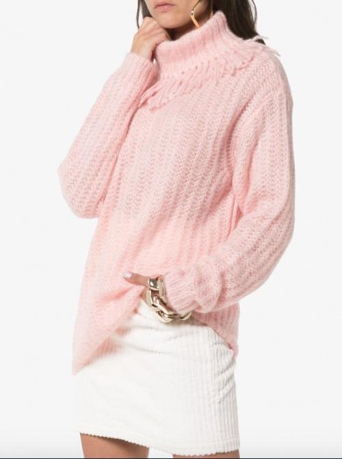 Miu Miu - Pull rose col frangé