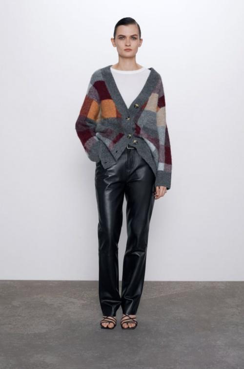 Zara - Cardigan laine à carreaux