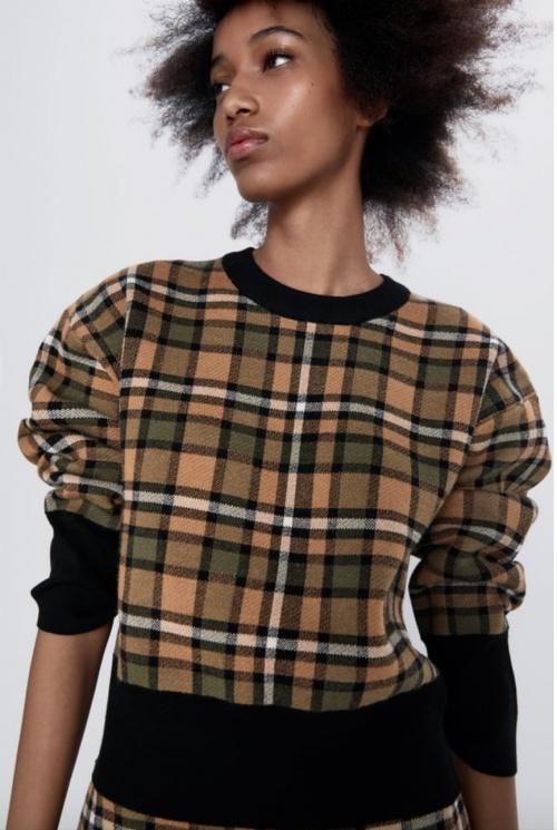 Zara - Sweat en maille à carreaux