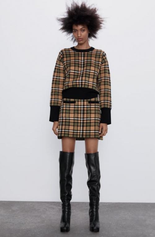Zara - Jupe en maille à carreaux
