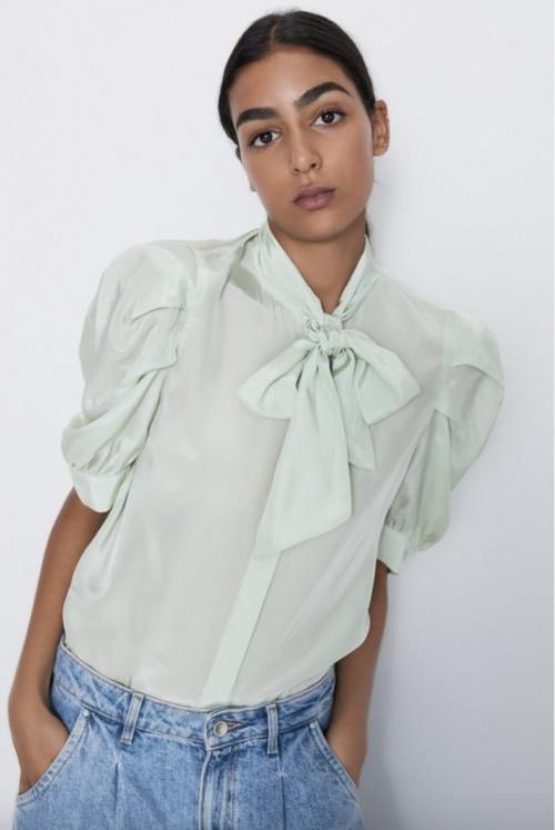 Zara - Blouse satinée à noeud