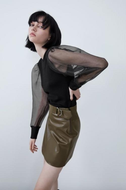 Zara - Mini-jupe en simili cuir