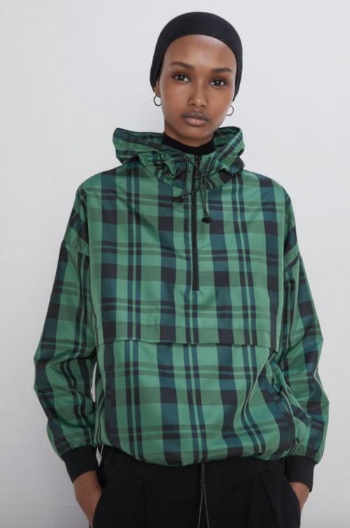Zara - Veste à capuche à carreaux