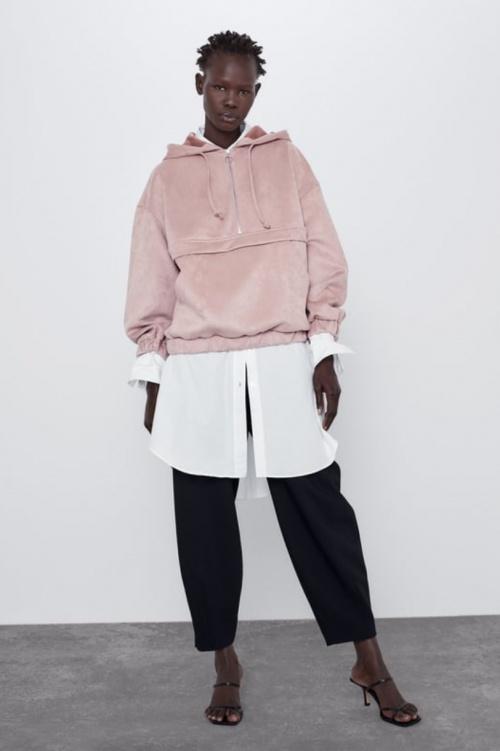 Zara - Sweat à capuche en daim