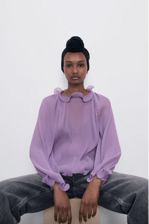 Zara - Top plissé manches longues