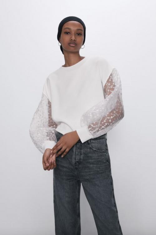 Zara - Top avec manches organza