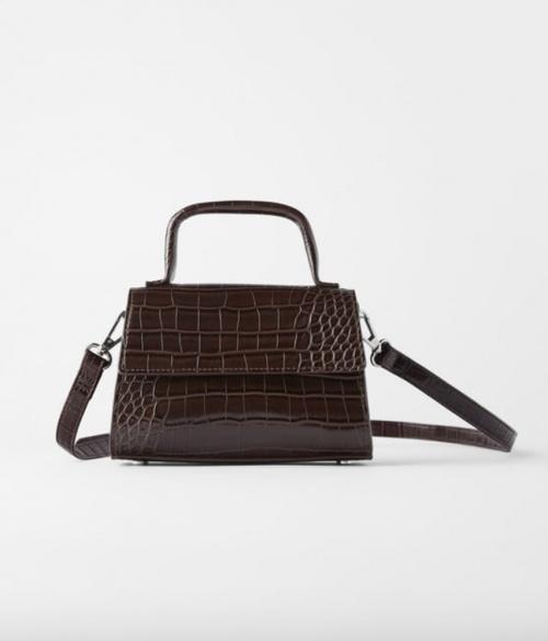 Zara - Mini sac marron croco