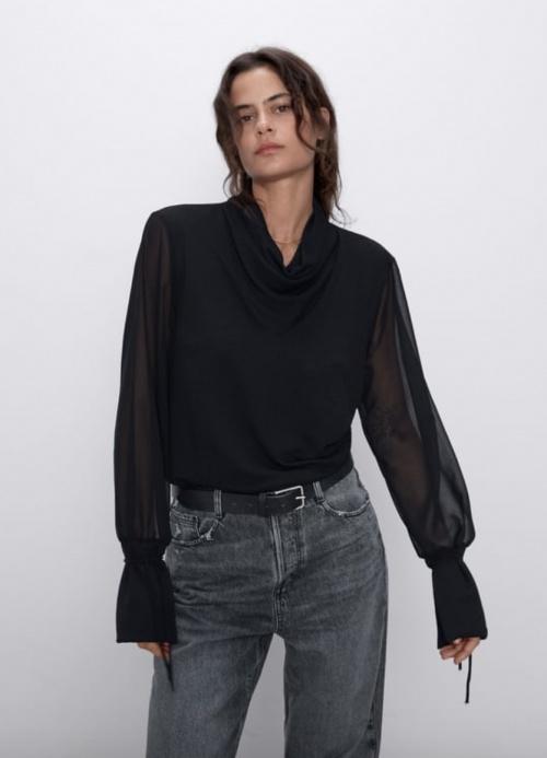 Zara - Top bimatière drapé