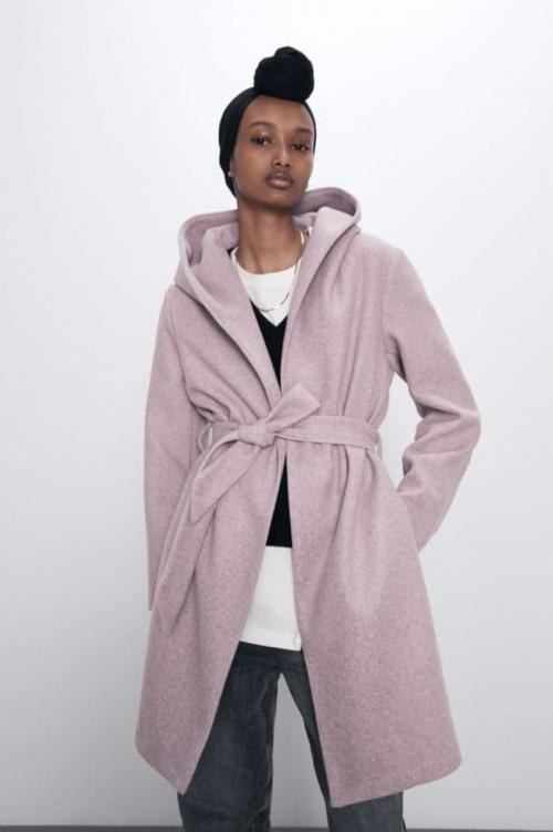 Zara - Manteau à capuche et ceinture