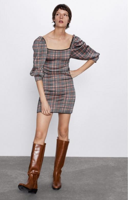 Zara - Robe en maille à carreaux