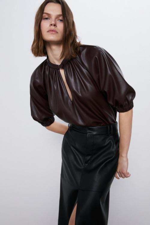 Zara - Blouse en similicuir