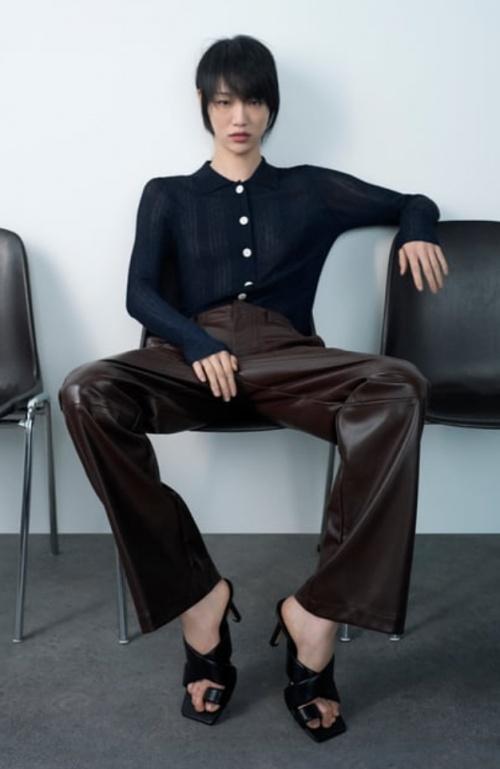 Zara - Pantalon simili cuir