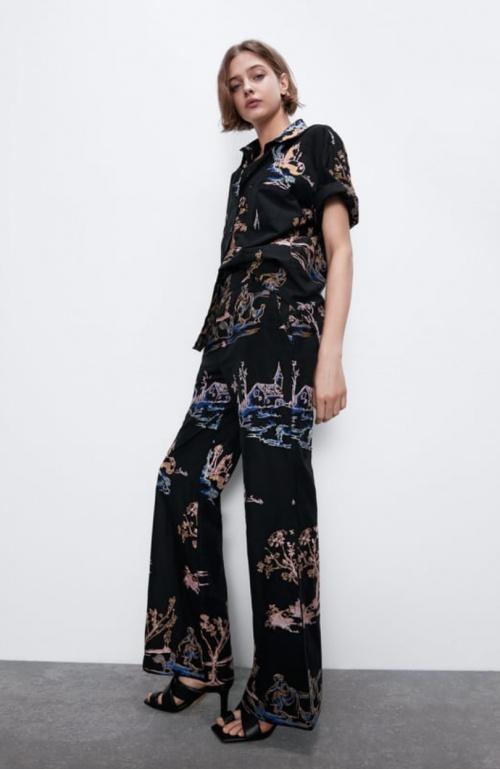 Zara - Pantalon brodé