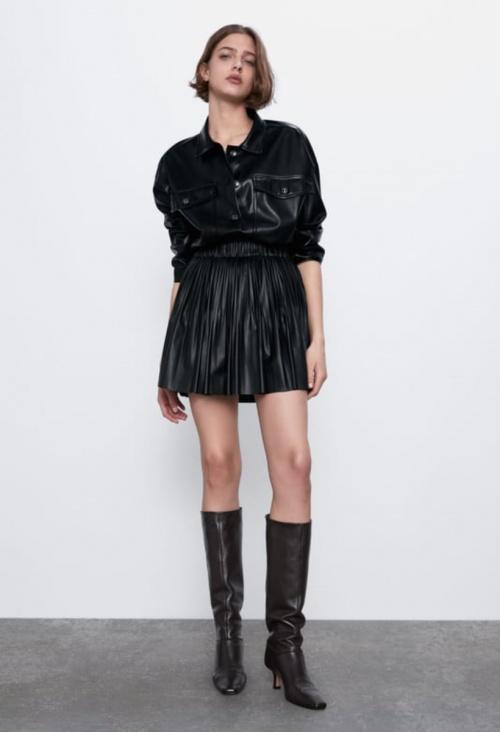 Zara - Jupe plissée simili cuir