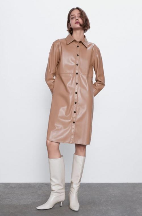 Zara - Chemise longue simili cuir