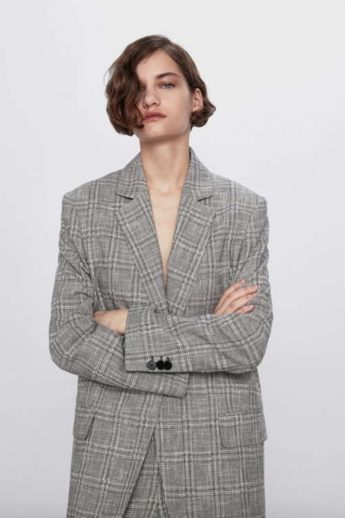 Zara - Veste tailleur à carreaux