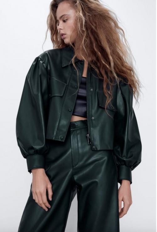 Zara - Veste courte simili cuir