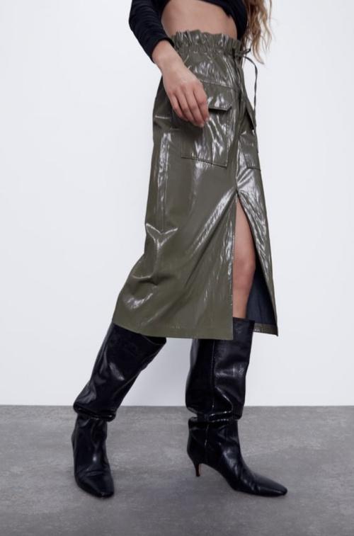 Zara - Jupe paper bag simili cuir