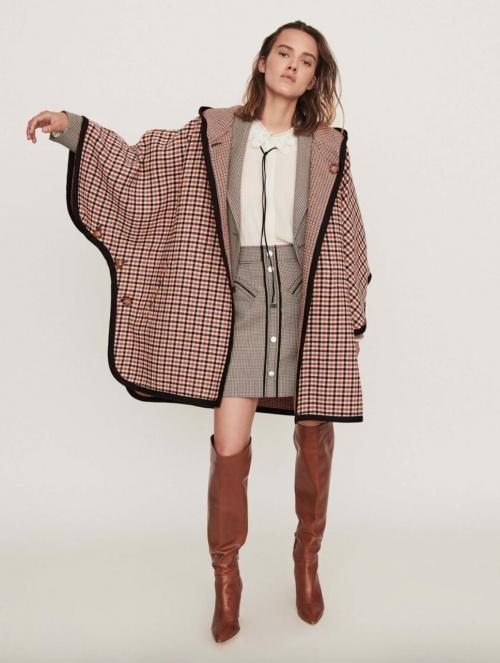 Maje - Manteau style cape à carreaux