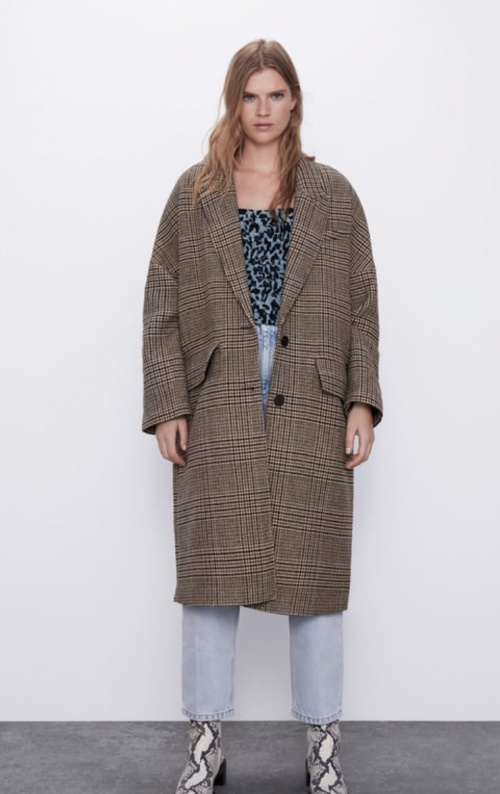 Zara - Manteau oversize à carreaux