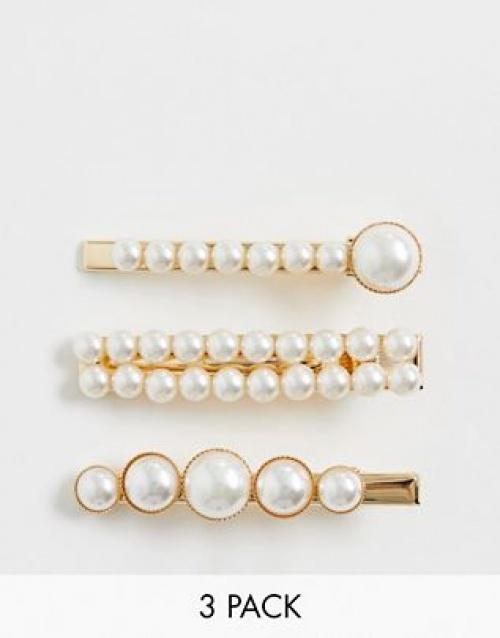 ASOS DESIGN - Lot de 3 barrettes à cheveux avec formes mélangées en perles