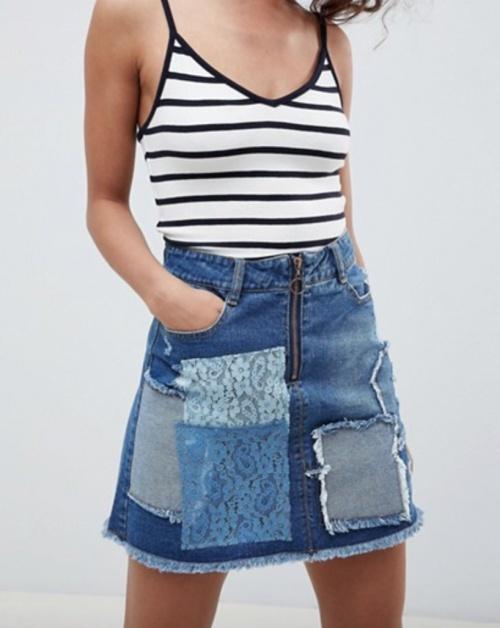 Urban Bliss - Mini jupe jean patchwork