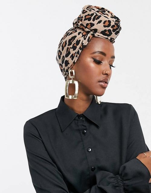 Asos - Grand foulard uni à imprimé léopard