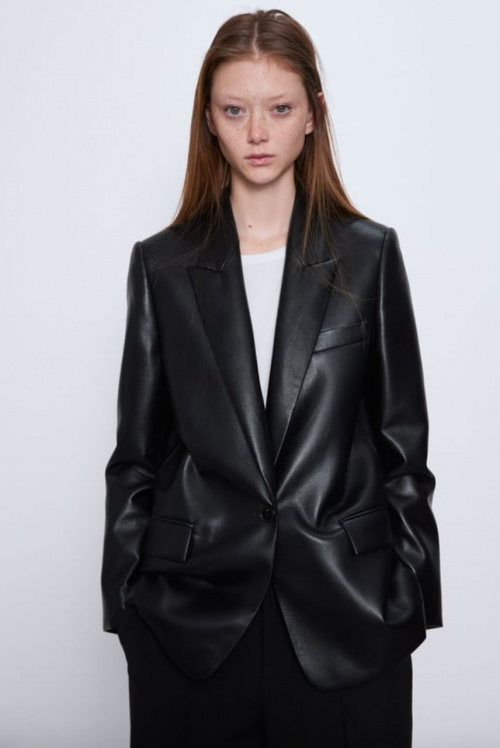 Zara - Veste tailleur simili cuir