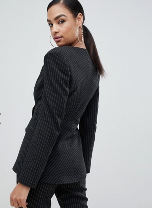 Asos Design - Veste tailleur à rayures